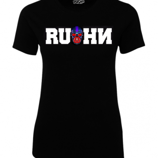 Rushn Red Gasmask design on a ladies t-shirt