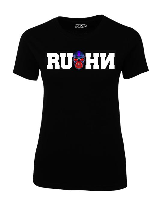 Rushn Red Gasmask design on a ladies t-shirt