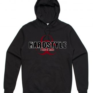 I Like it Hard Hardstyle hoodie that is black in colour