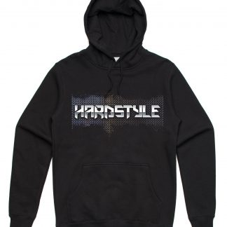 Hardstyle hoodie in black with a unisex sizing